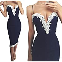 SRYS Womens Bodycon V Neck Floral Lace Evening Party Ladies Long Dress