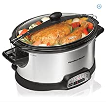 Hamilton Beach Programmable Stay or Go 6-quart Slow Cooker with 2 Clips 33466
