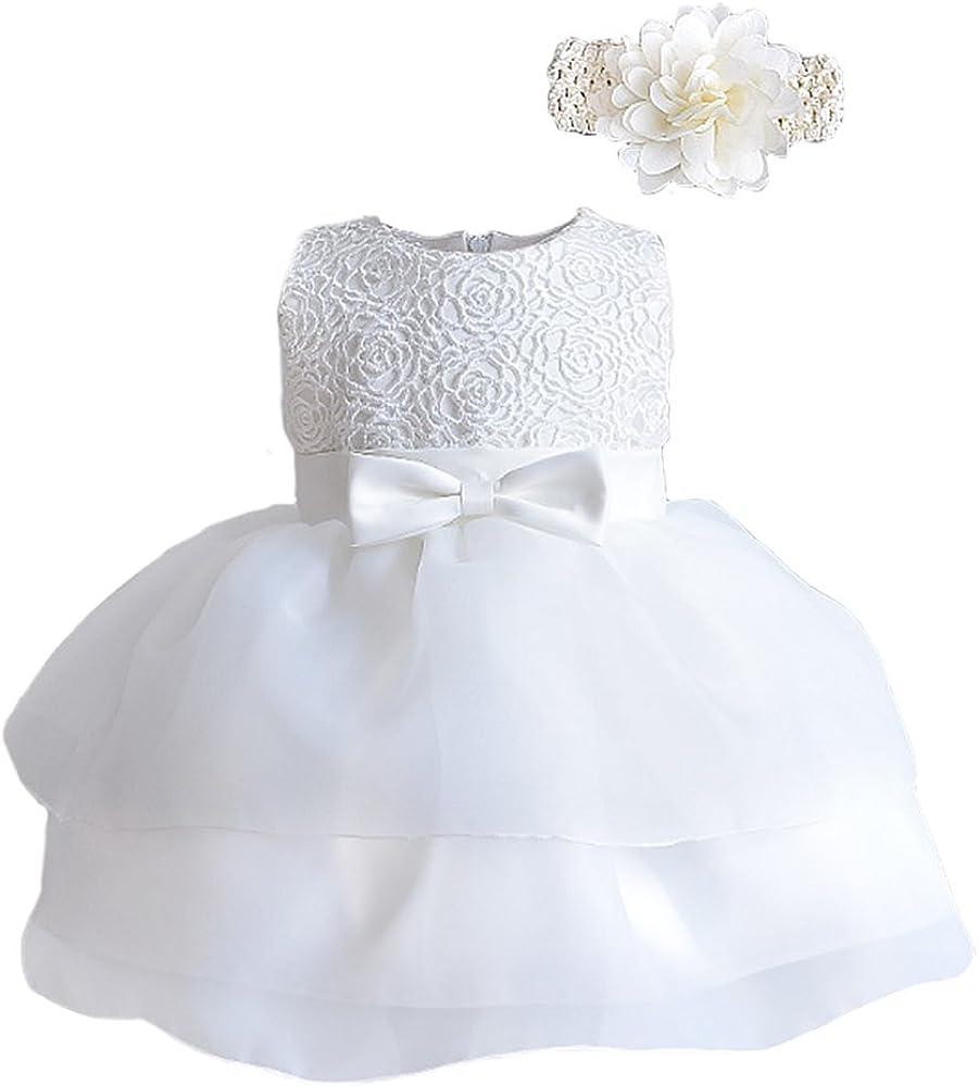Newborn Baby Girls Christening Baptism Gown Wedding Formal Dress with Headband