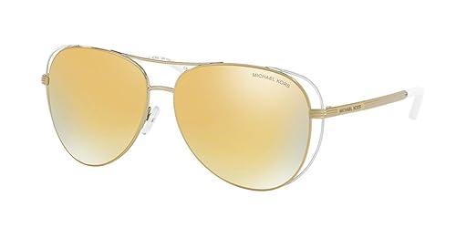 MICHAEL KORS Lai, Gafas de Sol Unisex, Pale Gold / White 11927P, 58