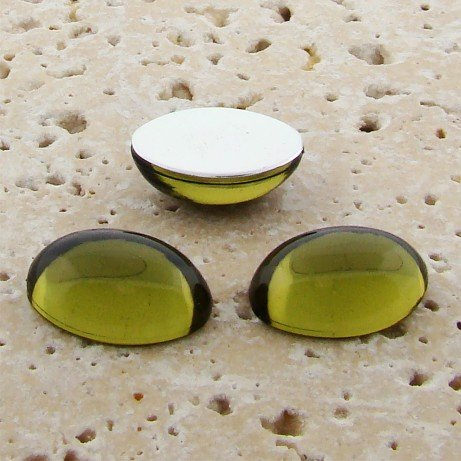 Olivine Jewel - 6x4mm. Oval Domed Cabochons - Lots of (Olivine Jewel)
