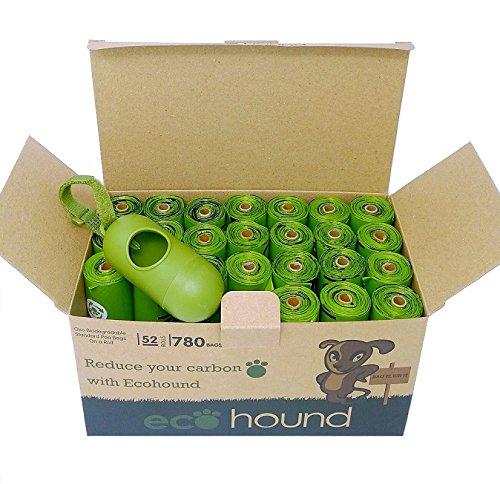 Ecohound 780 Bolsas de basura biodegradables para perro, con dispensador I grande, gruesa y a prueba de fugas, bolsas para perro con 52 rollos de recambio ...