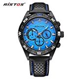 LONGBO Mens Unique Military Black Leather Band Analog Quartz Watches Real Chrono Eyes Blue Dial Date Calendar Multifunctional Wristwatch Sportive Waterproof Luminous Watch For Man