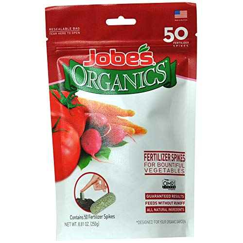 Jobe's 06028 Release Vegetables, Herbs and Tomato Plan Organics Vegetable & Tomato Fertilizer Spikes, 2-7-4 Time Relea, 50