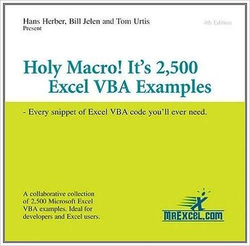 Amazon com: Holy Macro! It's 2,500 Excel VBA Examples: Every