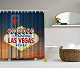 Ambesonne USA Shower Curtain, Welcome to Fabulous Las Vegas Nevada Sign Detailed Picture Traveler Urban Road Design, Cloth Fabric Bathroom Decor Set with Hooks, 70' Long, Navy Red
