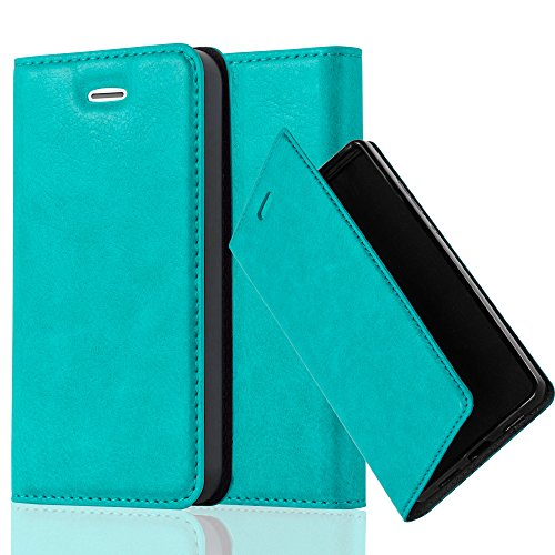 Cadorabo Case works with Apple iPhone 4/iPhone 4S Book Case in PETROL TURQUOISE (Design INVISIBLE CLOSURE) – with Magnetic Closure, Stand Function and Card Slot – Wallet Case Etui Cover PU Leather by Cadorabo