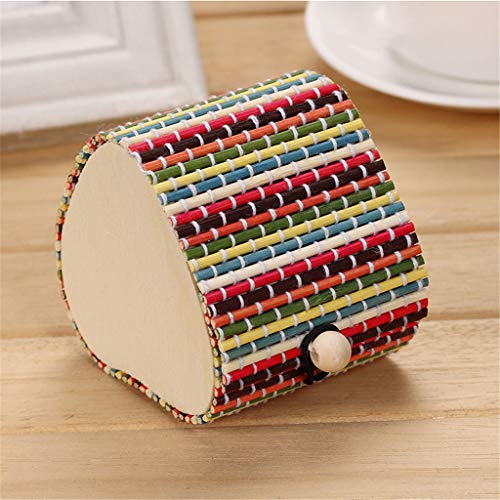 Gotian Bamboo Wooden Jewelry Organizer Storage Box Strap Craft Heart Shaped Case, Fashion and Beautiful, for Jewelry, Necklaces, Earrings (C)
