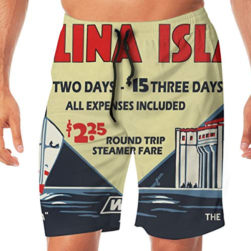 - COLSHOORTS Santa Catalina Island Vintage Tiles Pottery Casino Avalon Men Hawaiian Boardshorts Quick Dry Swim 3D Printed Elastic Beach Short Aloha Short with Pocket M