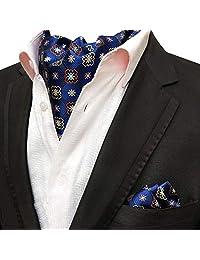 MOHSLEE Men's Polka Dots Silk Suit Cravat Tie Woven Fancy Ascot Handkerchief Set