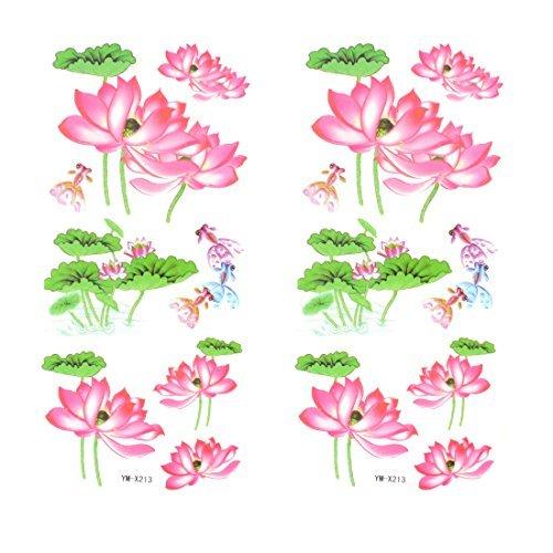 Rose Lotus Motif Transfert de tatouage temporaire autocollant Dtailler 2 pices