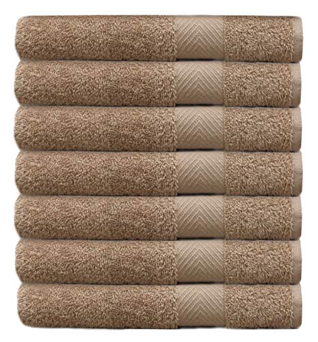 Cotton Craft – 7 Pack Linen Color Bath Towels – 100% Ringspun Cotton – 27″x52″ – Light Weight 450 Grams – Quick Drying and Highly Absorbent- Ideal for Daily Use