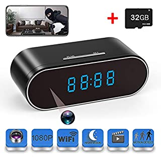 1080P HD Hidden Camera Wireless WiFi Hidden Camera Clock, Surveillance Nanny Cam for Home Security Monitor Video Recorder Night Vision Motion Detection with 32G SD Card, Support iOS/Android