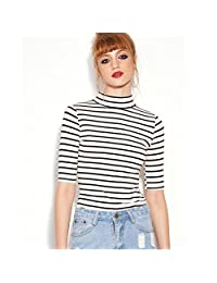 Welcomeuni Fashion Women Black White Striped T-shirt High Neck Slim Blouse TOPS