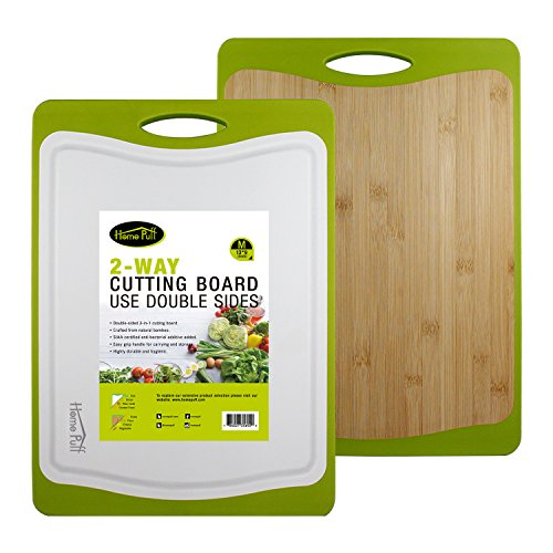 Home Puff H18 Revolve Cutting Board, 2-in-1 Double-Sided Antibacterial Bamboo & 100% BPA Free Plastic – Non-Slip Ergonomic Design, Juice Groove, FDA Approved (M) Price & Reviews
