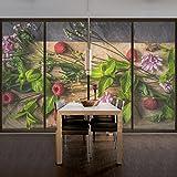 Window Mural Flowers raspberry mint window sticker window film window tattoo glass sticker window art window décor window decoration Size: 56.7 x 85 inches