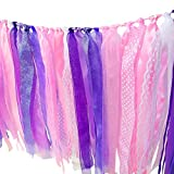 Hangnuo Colorful Ribbon Tassel Garland Already Assembled for Wedding Party Decorations Nursery Photo Props 40''(L) X 14''(H) Purple Lace