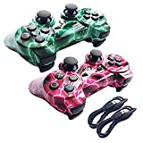 Nesada 2 Packs Wireless Bluetooth Controller For PS3 Double Shock - Bundled with USB charge cord (Red Lighning and Green Lighning)