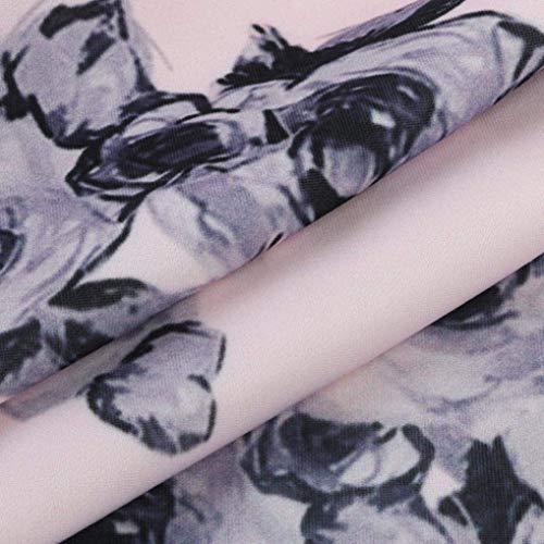 Otoño Aviador Cuello Chaqueta Modernas con Bomber Elegantes Primavera Stand Vintage Manga Larga Cremallera Moda Floreadas Abrigos Rosa Outwear Corto Casuales Mujer De Chaquetas ZU0qZ