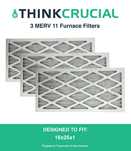 3 16x25x1 MERV 11 Allergen Air Furnace & Air Conditioner Filter, Pleated, Premium Filtration, by Think Crucial