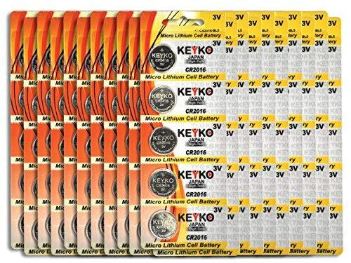Cr2016 Coin Cell - CR2016 Battery 3V Lithium Coin Cell Battery Type 2016/DL2016/ECR2016 Genuine KEYKO Supreme High Energy - 100 pcs Pack