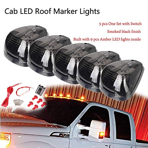 Star-Trade-Inc - For 1999- Ford E150 E250- E450 F250-F750 Super Duty Pickup Truck Cab Roof Running Marker Lights Dome Lamp w/Switch 9 LEDs