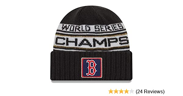 1b8dc9a43f2f6 Amazon.com   New Era Boston Red Sox 2018 World Series Champions Men s  Locker Room Knit Hat   Clothing