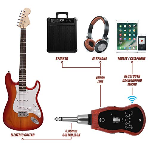 tonor bluetooth electric guitar headphone amp rechargable with usb charging cable and to 6. Black Bedroom Furniture Sets. Home Design Ideas