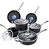 COOKSMARK 10PCS Durable Hard-Anodized Aluminum Nonstick Cookware Set, Modern Pots and Pans Set with Glass Lids, Black