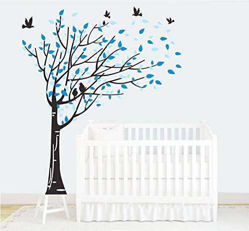 Grand sticker mural avec arbre famille Noir Bleu Feuilles Six oiseaux Sticker mural en vinyle pour b/éb/és enfants enfants chambre d/écoration