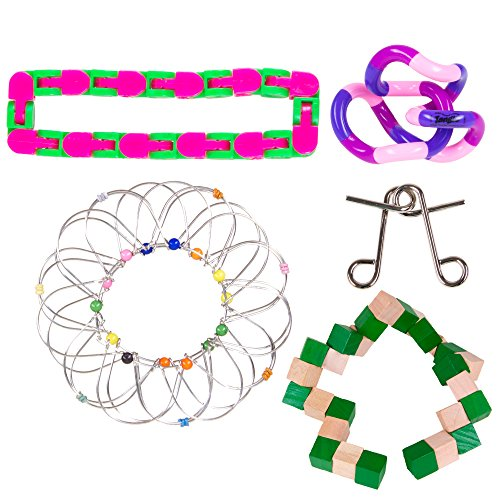 5 Piece IQ Twisty and Sensory Processing Toys Bundle; Tangle Relax Therapy, Brain Puzzles, & Fidgets