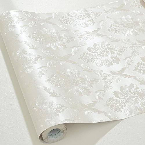 Glow4u Modern Off White Damask Contact Paper Self Adhesive Removable Peel and Stick Wallpaper for Home Room Wall Arts Crafts Decal 24 Inch by 16 ()