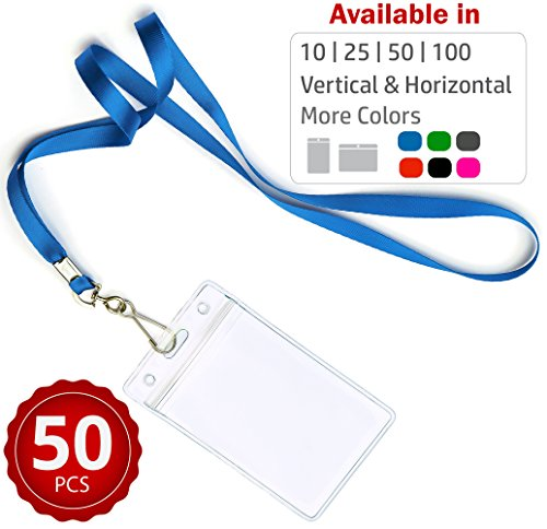 (Durably Woven Lanyards & Vertical ID Badge Holders ~ Premium Quality, Waterproof & Dustproof ~ For Moms, Teachers, Tours, Events, Businesses, Cruises & More (50 Pack, Blue) by Stationery King)