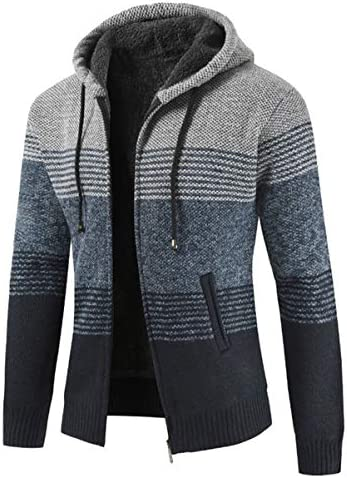 カーディガン メンズ セーター 秋冬 厚手 冬物 アウトドアウェア ストライプ かっこいい ニット 帽子付き 暖かい 防寒 カジュアル ファション おしゃれ シンプル ジップアップ