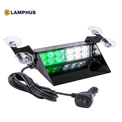LAMPHUS SolarBlast SBWL26 Emergency Vehicle LED Dash Light [12W LED] [32 Flash Patterns] [Adjustable Mounting] [Multiple Colors Available] - Strobe Light for Dash, Deck & Windshield - Green White