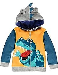 Little Boys Hoodie Zip Up Jacket Baby Dinosaur Coat Toddler Hood Outerwear Yellow