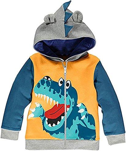 Little Boys Hoodie Zip Up Jacket Baby Dinosaur Coat Toddler