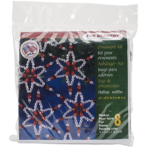 "Beadery Holiday Beaded Ornament Kit, Ruby Stars, 2.25"" Makes 8"
