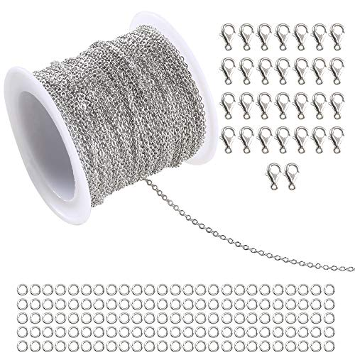 Anpatio 36Ft Stainless Steel Cable Link Chain Jewelry Making Necklace Chains 30 Lobster Clasps and 100 Jump Rings with Plastic Spool for Men Woman 36 Silver -