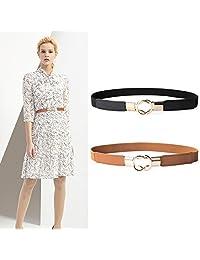 2 Pack Women Metal Fashion Skinny Leather Belt Gold Elastic Buckle belt solid color By JASGOOD