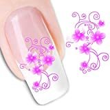 5 PCS EMAXELER Decals Water Nail Art Stickers Decal Tattoo Pink Flower (XF1422) by EMAXELER