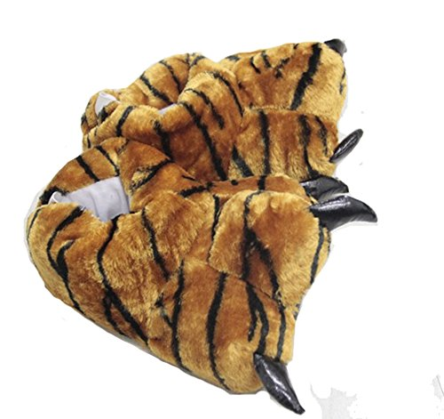 Tonwhar Animale Zampa Artiglio Scarpe Fuzzy Faux Fur Caldo Novità Costume Pantofole Tigre