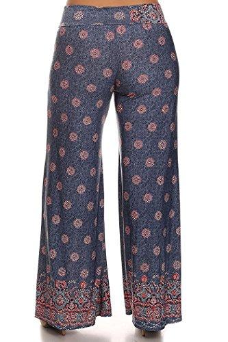 ColorMC Women's Plus Size Chevron Colorblock Striped Self-Banded Palazzo Long Knit Wide Leg Pants 2XL DenimPolka