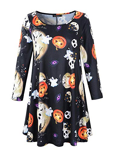 Veranee Women's Plus Size Swing Tunic Top 3/4 Sleeve Floral Flare T-Shirt (Large, 16-25) -