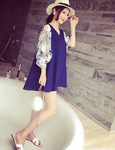 PU&PU Robe Aux femmes Ample Mignon / Street Chic,Imprimé Col en V Mini Coton / Spandex , blue-2xl , blue-2xl