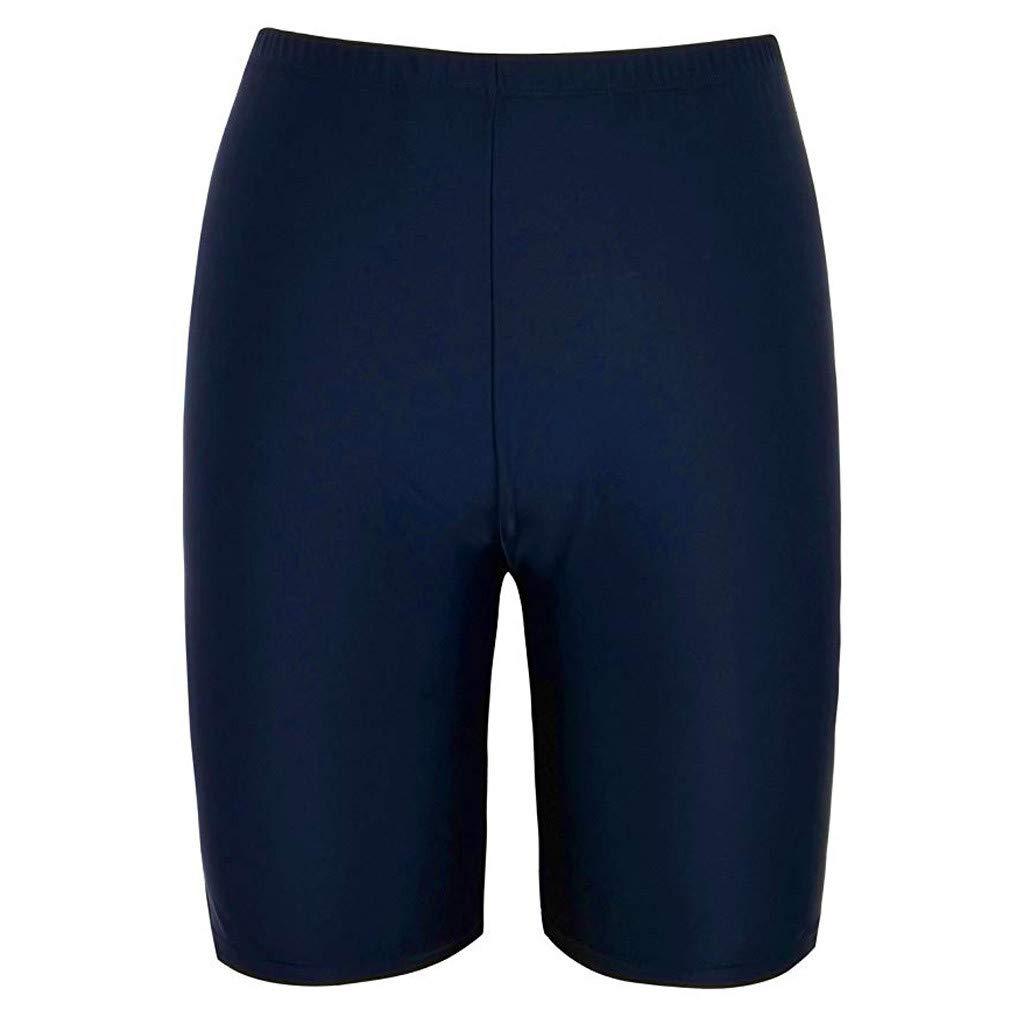Womens Rash Guard,Long Bike Swim Shorts UPF 50+ Swim Bottom Multi-Functional Board Shorts Rash Guard (Navy, XL)