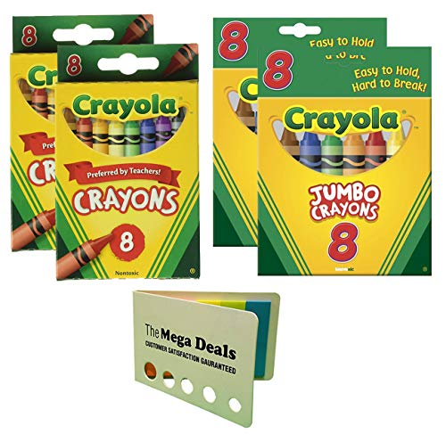 (Crayola Crayons, 8 Count, 2 Pack | Jumbo Crayons, 8 Count, 2 Pack (Peggable Tuck Box) | Includes 5 Color Flag Set)
