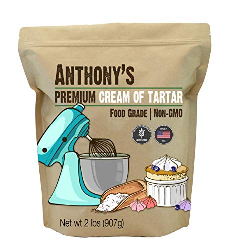 Anthony's Premium Cream of Tartar, 2lbs, Gluten Free, Food Grade, Non-GMO, USP, FCC Made in USA,