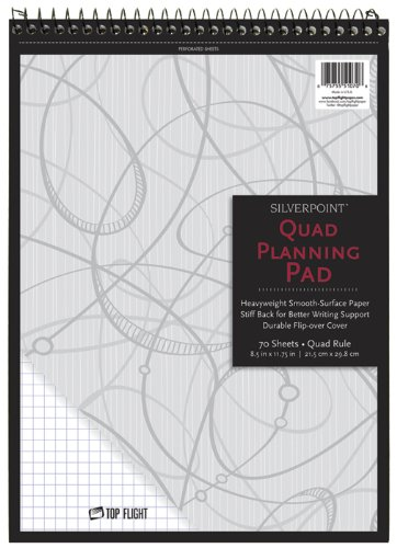 (Silverpoint Top Wire Pad, Heavy Back, Quadrille Rule, 8.5 x 11.75 Inches, 70 Sheets, Protective Cover, Blue/Black (51070))