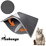 "Asobeage Premium Cat Litter Mat(30""X24"") Litter Trapping Mat, Cat Litter Box Mat Scatter Control,Waterproof Double Layer Litter Trapper Mat,Honeycomb Design,Easy Clean Washable EVA Material(Grey)"